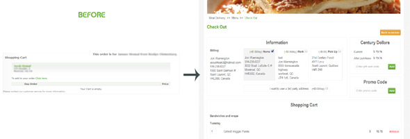 21st Century Food Facelift - User Interface and Checkout